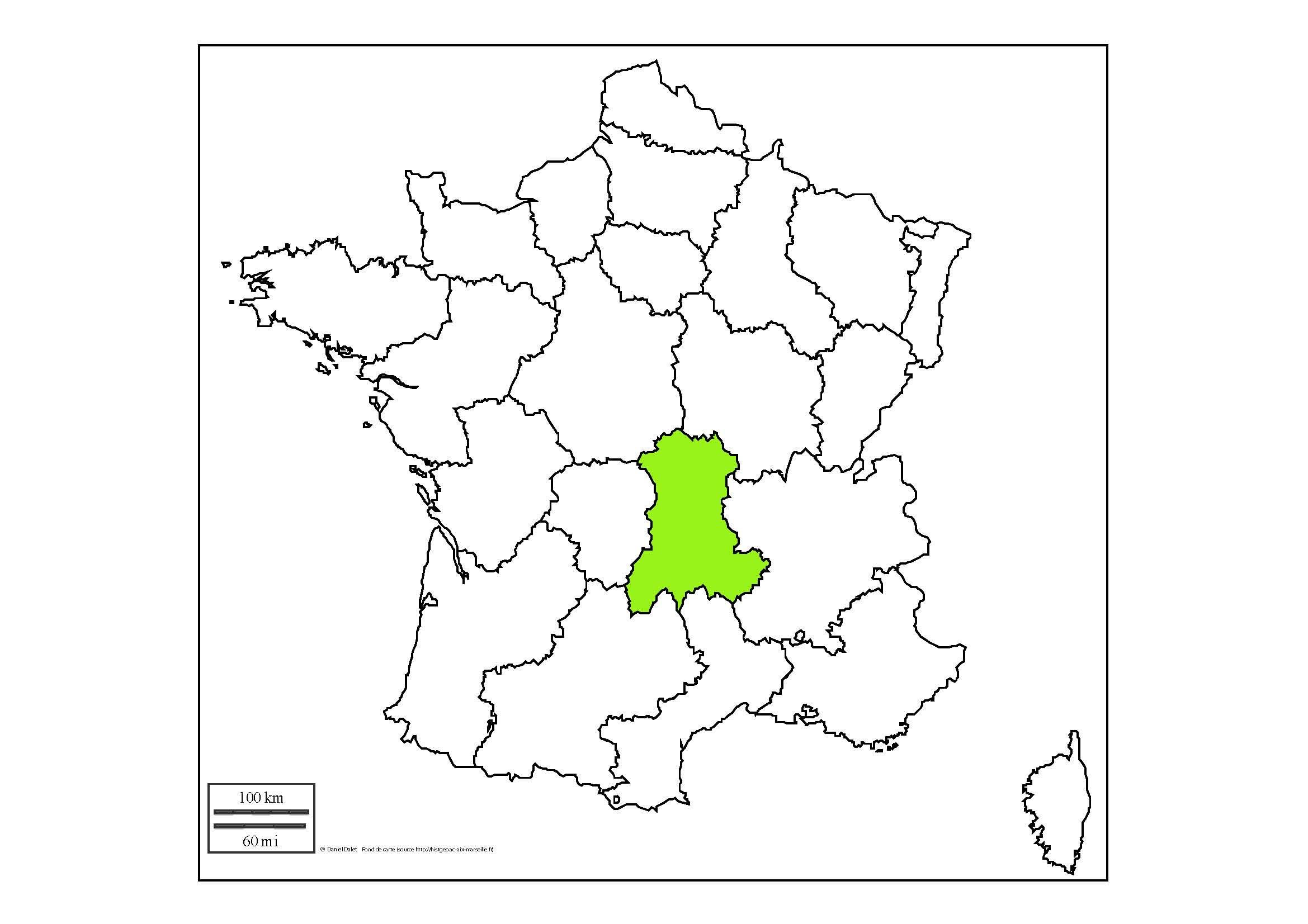 carte de france auvergne