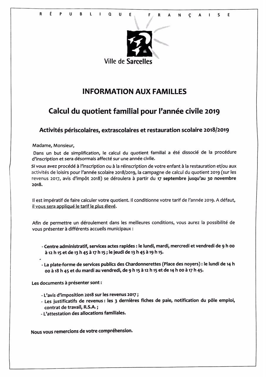 Calcul Du Quotient Familial Pour Le Periscolaire Ecole Le Bois