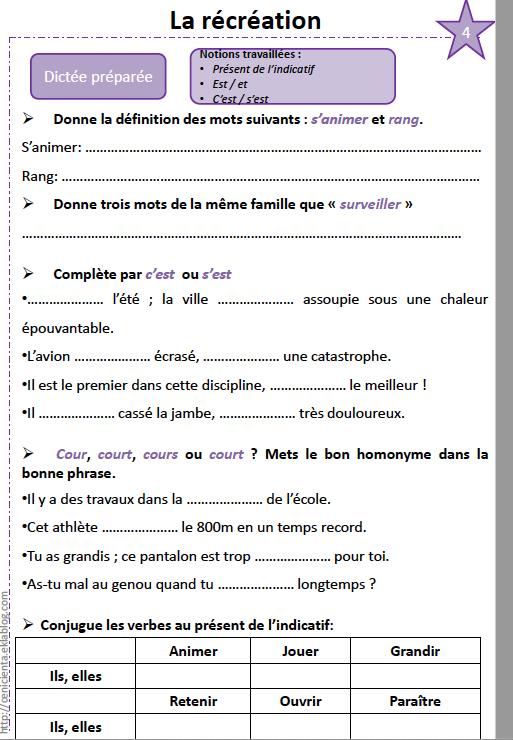 Exercices De Preparation A La Dictee La Recreation Ecole Victor Hugo