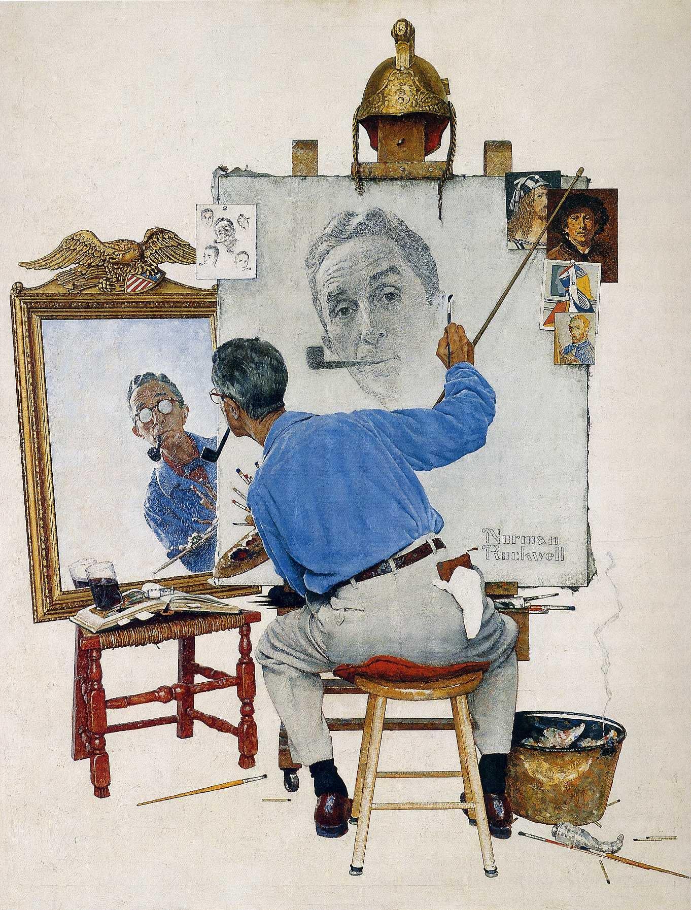 Le triple autoportrait de norman rockwell lettres d 39 arts for Autoportrait miroir