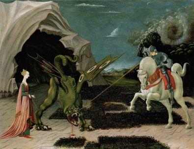Saint Georges terrassant le dragon (v. 1470), huile sur toile de Paolo UCCELLO