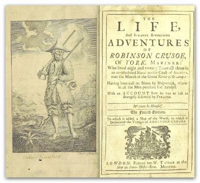 Extrait de Robinson Crusoé, visible à la British Library de Londres ; by DEFOE, DanielScan courtesy of The British Library - Flickr:	Image taken from page 9 of Life and Strange Surprizing Adventures of Robinson Crusoe, etc.