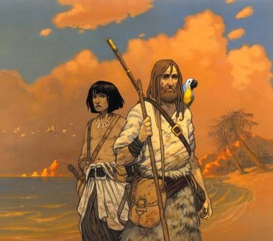 Robinson Crusoé (2004), Magnard Jeunesse, couverture de Vincent DUTRAIT