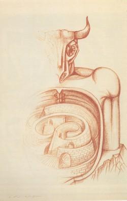 Le Labyrinthe et le Minotaure (1950), André MASSON, Collection  Gabrielle Labourdette