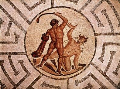 Thésée tue le Minotaure, Mosaïque
